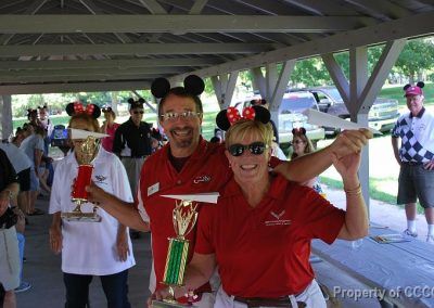 Winners: Rich R. and Cheryl W. posing with their 1st place trophies in their respective divisions.