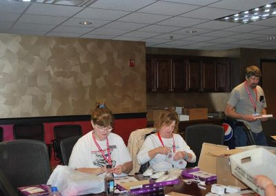 The Bash Brigade consisted of the following club members: Barb P., Rita R., Roger, Paulette B., Joy & Larry G., and Roger & Tina H. There job was to ready all lanyards and packets for those attending the 2015 Bash at the NCM April 23-25.
