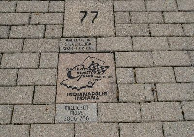 This is the 2nd club brick placed in section 77 (the year the club was established) with plenty of room for club member's bricks when they are purchased. The club's other brick is closer to the Museum entrance there is no longer room near it.
